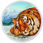 Round Beach Towel featuring the painting  Tiger Sleeping In Snow by Bob and Nadine Johnston