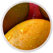 Round Beach Towel featuring the photograph  Tres Mangoes by Greg Allore