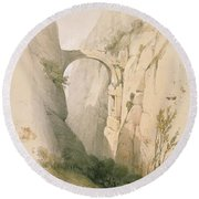 Triumphal Arch Crossing The Ravine Leading To Petra Round Beach Towel