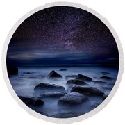 Where Dreams Begin Round Beach Towel