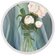 White Flower Purity Round Beach Towel