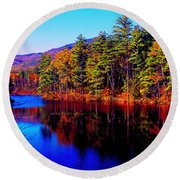 White Mountians National Park Red Eagle Pond New Hampshire Round Beach Towel