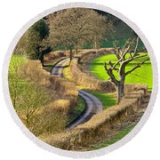 Winding Country Lane Round Beach Towel