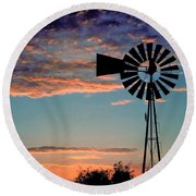 Windmill At Dawn Round Beach Towel