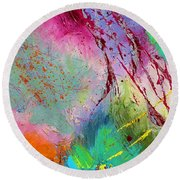 Modern Abstract Diptych Part 1 Round Beach Towel
