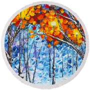 Round Beach Towel featuring the painting  Silence Winter Night Light Reflections Original Palette Knife Painting by Georgeta Blanaru