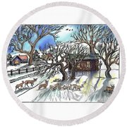 Round Beach Towel featuring the drawing  Wyoming Winter Street Scene by Dawn Senior-Trask