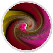 Yellow Into Pink Swirl Round Beach Towel
