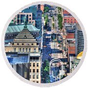 0024 Visual Highs Of The Queen City ...main St... Round Beach Towel