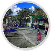 St Croix Stencil  Round Beach Towel