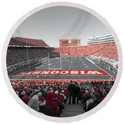 0096 Badger Football Round Beach Towel