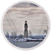 01 Winter Light House Round Beach Towel