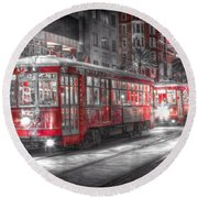 0271 Canal Street Trolley - New Orleans Round Beach Towel