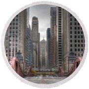 0295 Lasalle Street Chicago Round Beach Towel