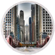 0295b Lasalle Street Bridge Round Beach Towel