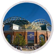 0386 Miller Park Milwaukee Round Beach Towel