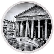 0786 The Pantheon Black And White Round Beach Towel