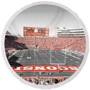 0813 Camp Randall Stadium Panorama Round Beach Towel