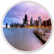 0865 Chicago Sunrise Round Beach Towel