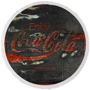 Coca Cola Sign Grungy  Round Beach Towel