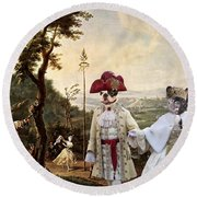 French Bulldog Art Canvas Print Round Beach Towel