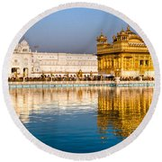 Golden Temple In Amritsar - Punjab - India Round Beach Towel by Luciano Mortula