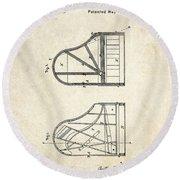 1878 Steinway Grand Piano Forte Patent Art S. 1 Round Beach Towel