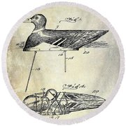 1910 Duck Decoy Patent Drawing Round Beach Towel