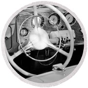 1937 Cord Sc Cabriolet Steering Wheel Round Beach Towel
