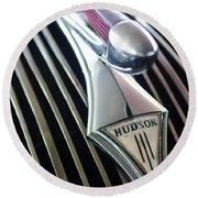 1937 Hudson Terraplane Sedan Hood Ornament Round Beach Towel