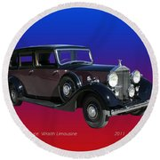 1938 Rolls Royce Limousine Round Beach Towel