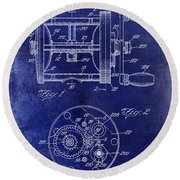 1943 Fishing Reel Patent Drawing Blue Round Beach Towel