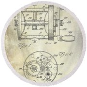 1943 Fishing Reel Patent Drawing Round Beach Towel