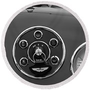 1953 Aston Martin Db2-4 Bertone Roadster Instrument Panel Round Beach Towel