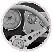 1953 Mg Tdc Steering Wheel Round Beach Towel