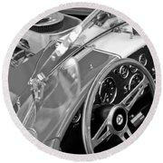 1955 Ac Cobra Steering Wheel And Engine Round Beach Towel