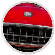 1958 Chevrolet Corvette Grille Round Beach Towel