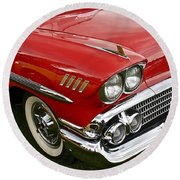 1958 Chevy Impala Round Beach Towel