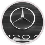 1958 Mercedes-benz 220s Cabriolet Emblem Round Beach Towel