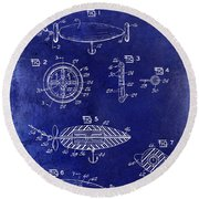 1962 Animated Fish Lure Blue Round Beach Towel