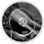 1965 Ford Mustang Cobra Emblem Steering Wheel Round Beach Towel