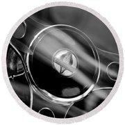 1965 Ford Mustang Cobra Emblem Steering Wheel Round Beach Towel by Jill Reger