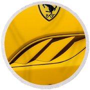 Round Beach Towel featuring the photograph 2010 Ferrari California Side Emblem by Jill Reger