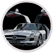 2010 Mercedes Benz Sls Gull-wing Round Beach Towel by Jack Pumphrey