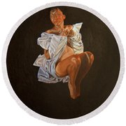 Round Beach Towel featuring the painting 1 30 Am by Thu Nguyen