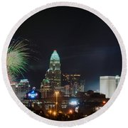 4th Of July Firework Over Charlotte Skyline Round Beach Towel