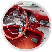 62 Thunderbird Interior Round Beach Towel