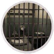 A Cell In Alcatraz Prison Round Beach Towel