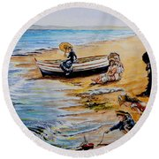 A Day At The Seaside Round Beach Towel