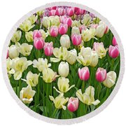 A Field Of Tulips Round Beach Towel by Eva Kaufman